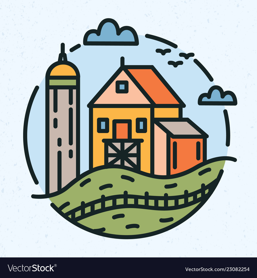 Modern circular logo with rural landscape and farm
