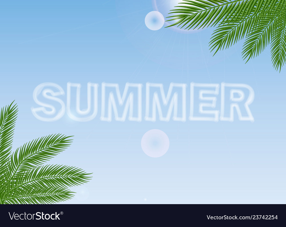 Summer journey poster with tropical palm branches