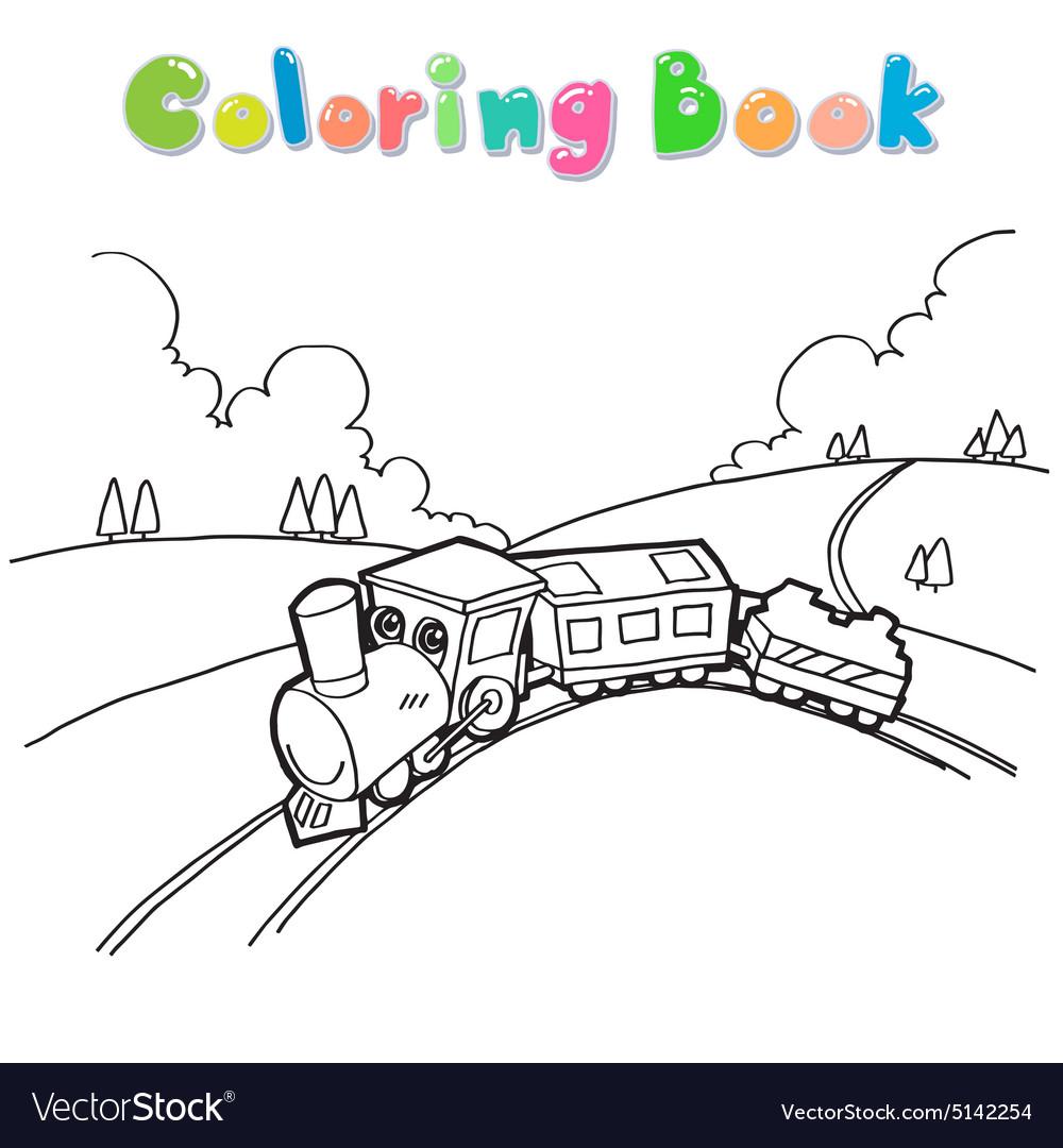 Train coloring book Royalty Free Vector Image - VectorStock