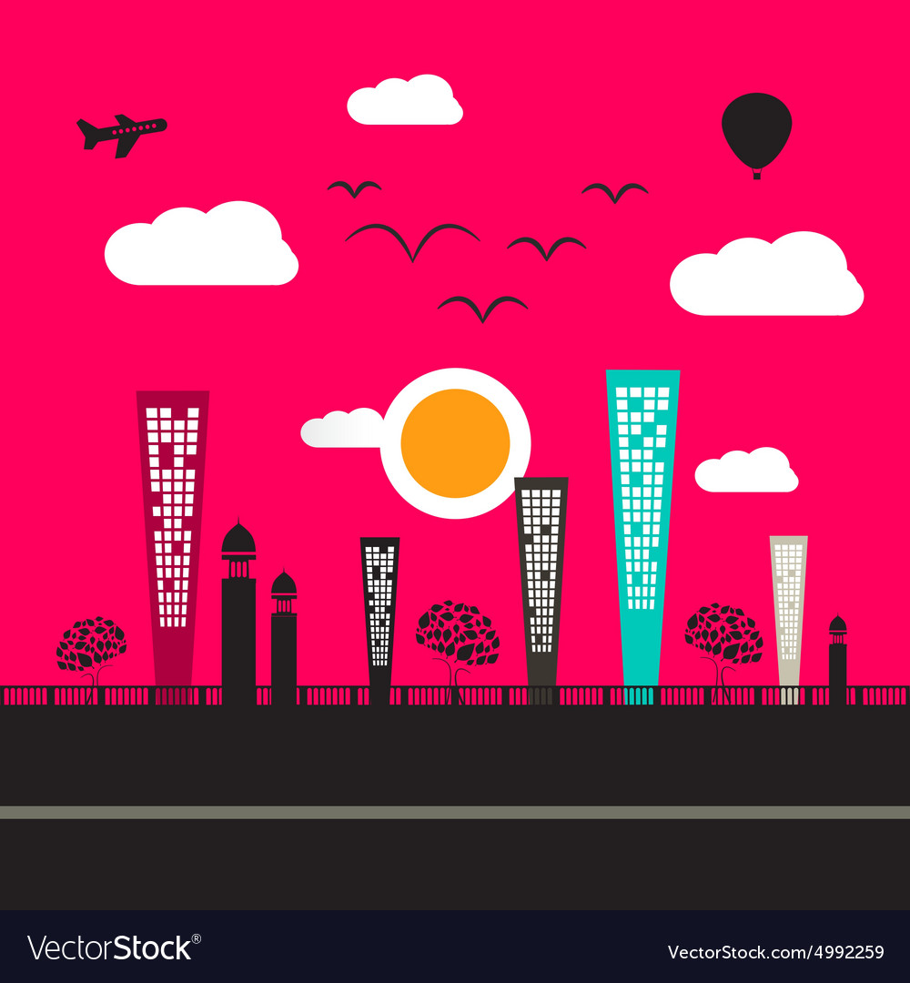 Abstract Flat Design City