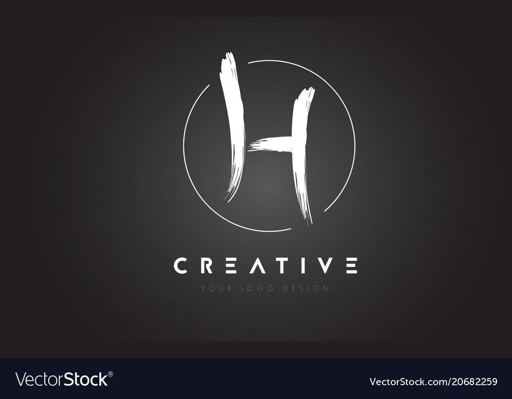 H brush letter logo design artistic handwritten