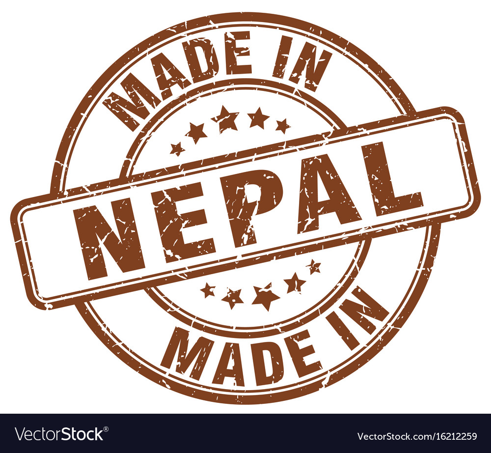 Made in nepal brown grunge round stamp Royalty Free Vector