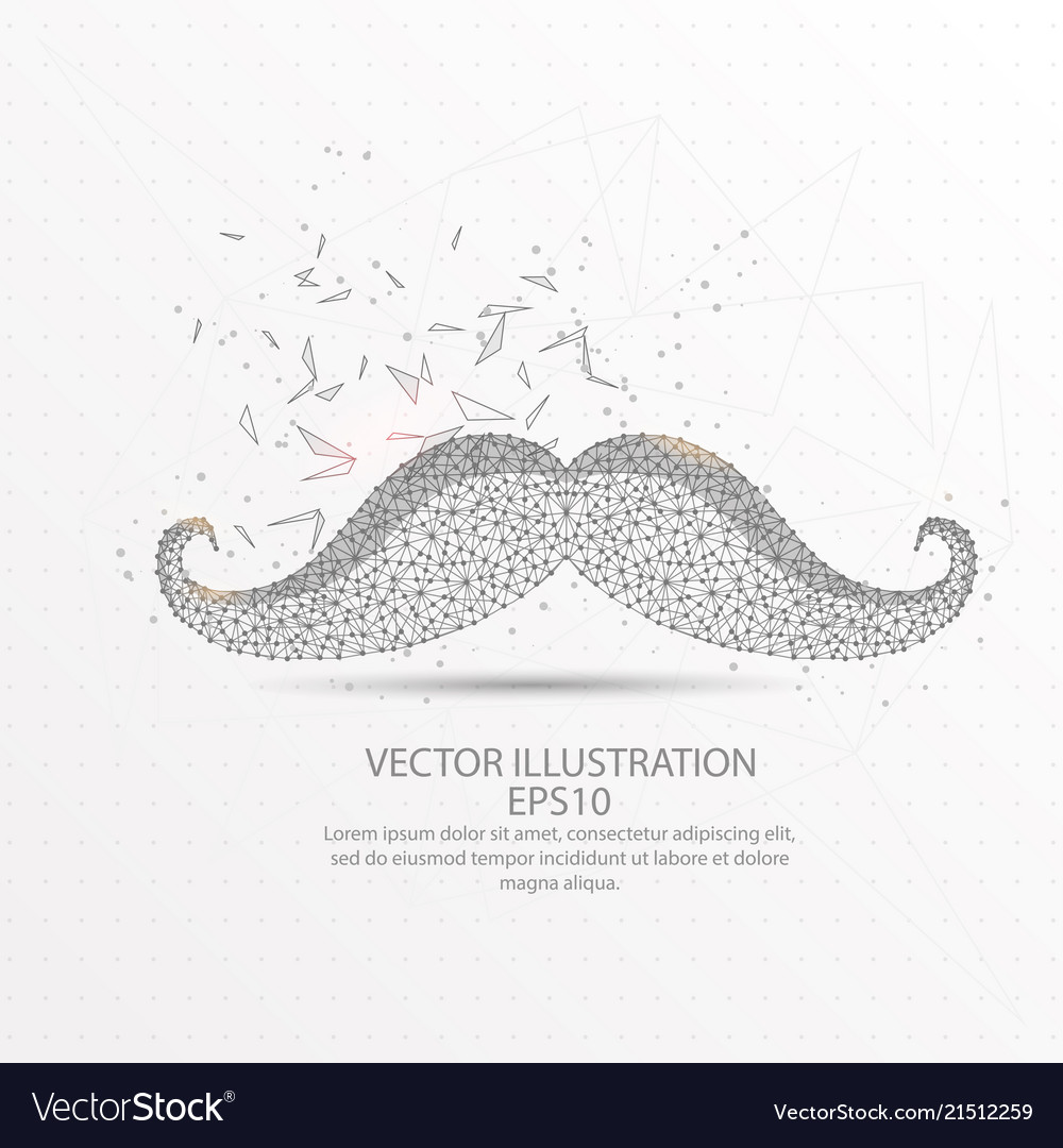 Moustache low poly wire frame on white background
