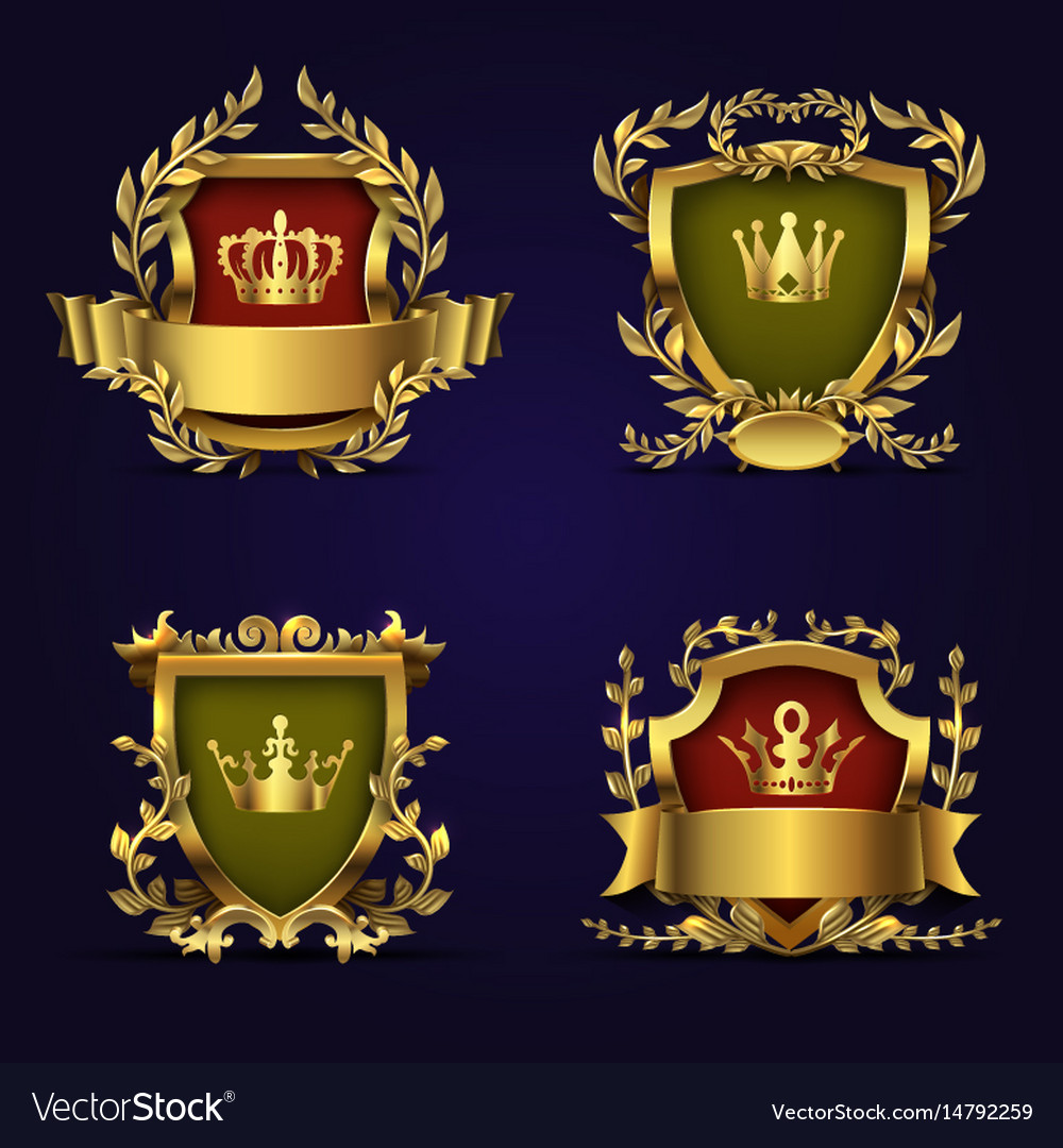 Royal heraldic emblems in victorian style