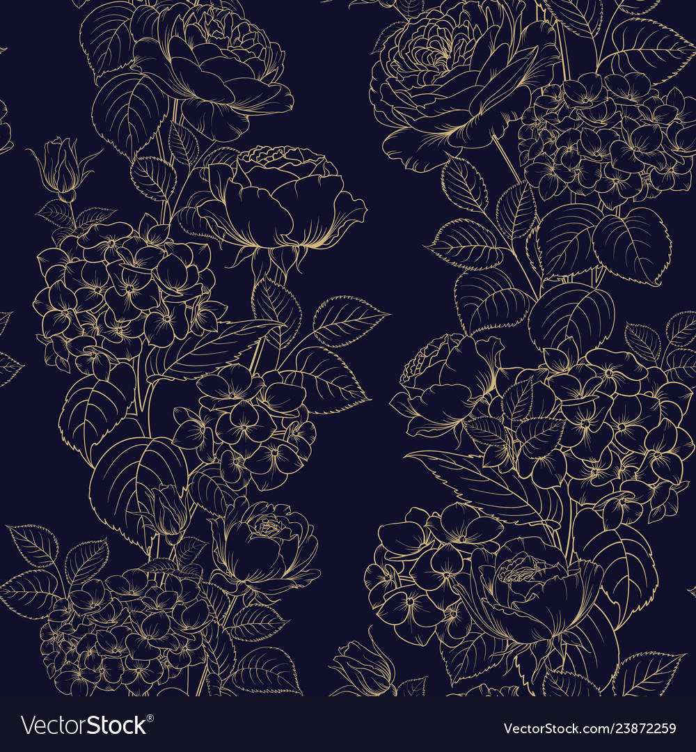 Seamless pattern of black and white style flowers