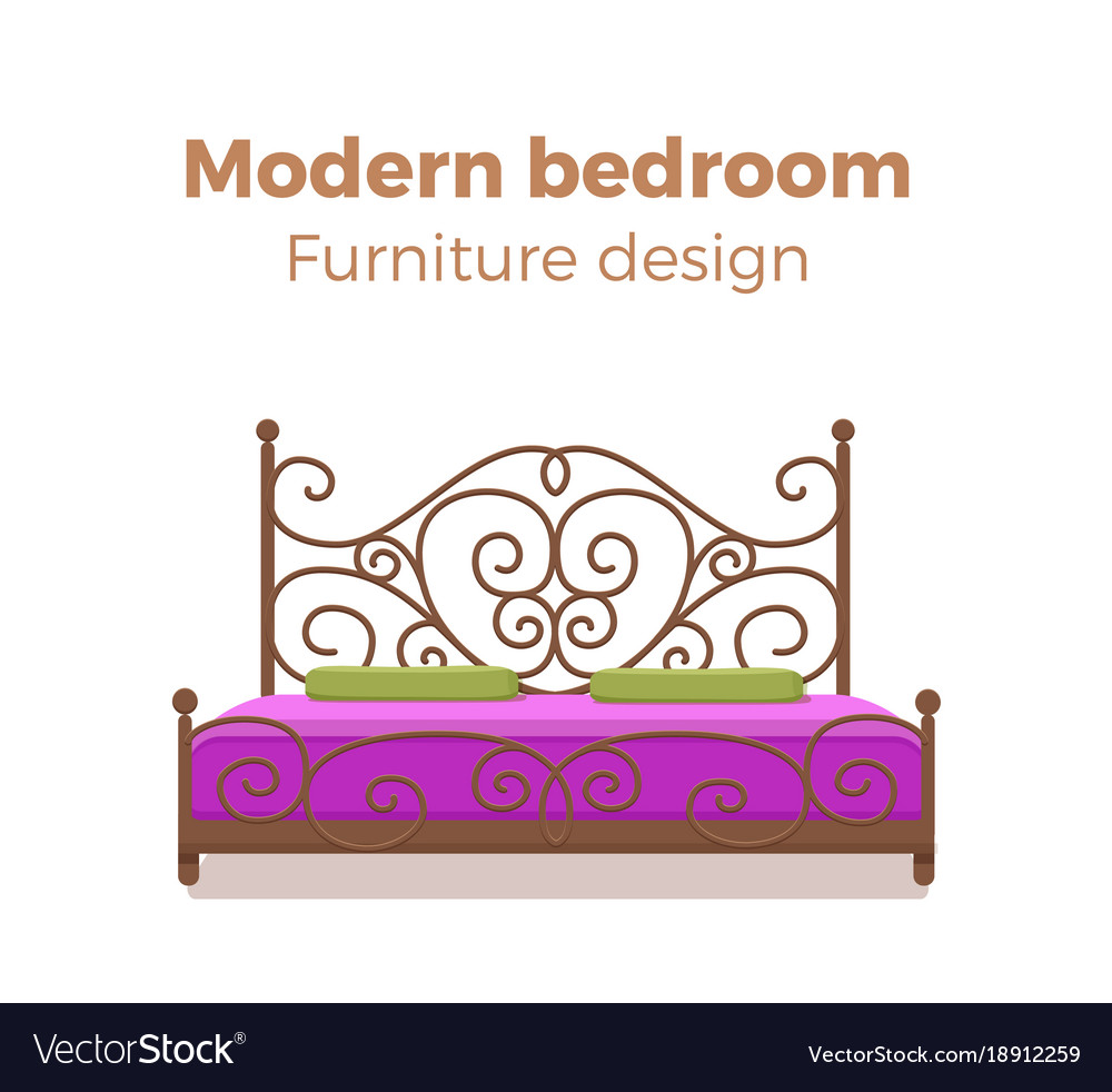 Set of colorful beds with pillows and blankets