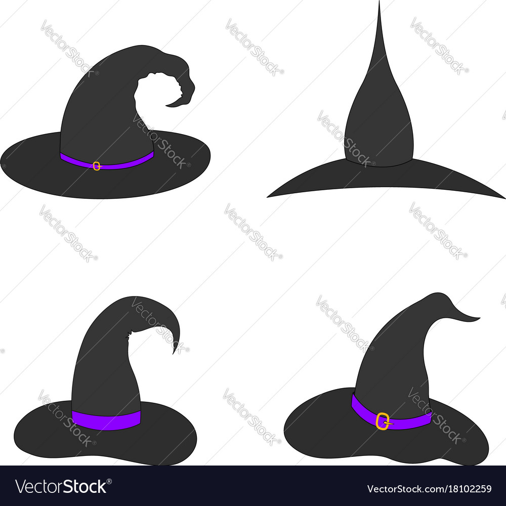 Set of witch hat on white background isolated