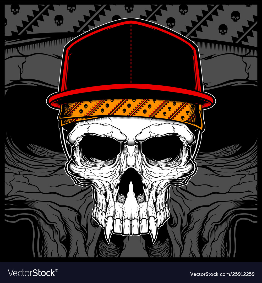 Skull wearing cap and bandana