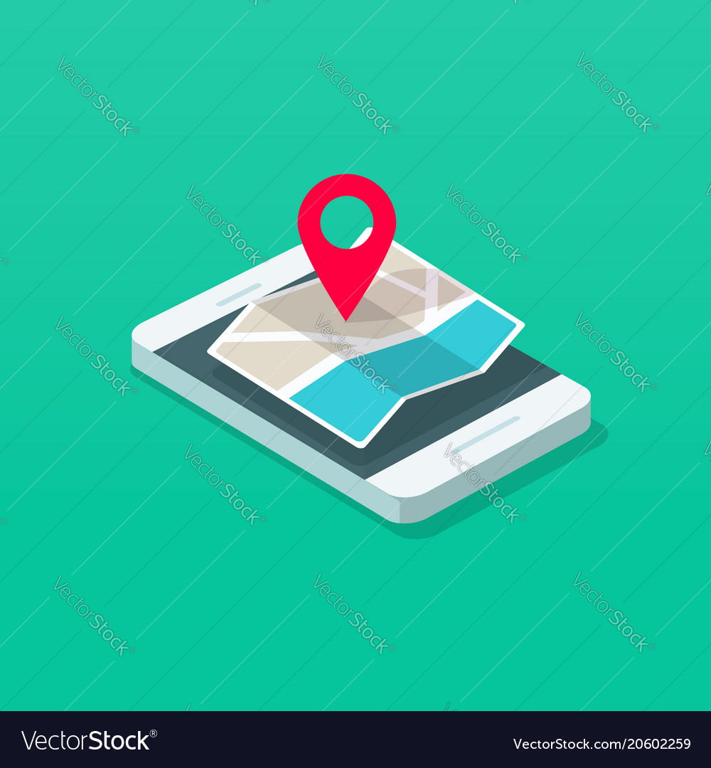Smartphone and map pointer isometric