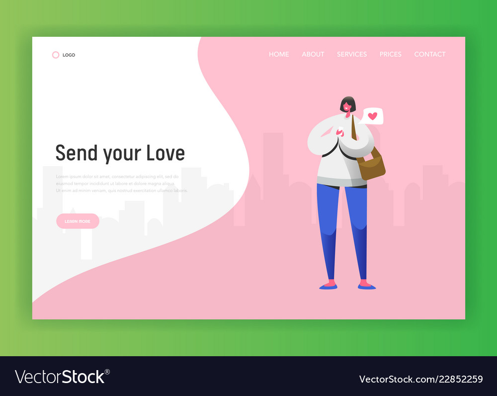 Social network landing page template woman