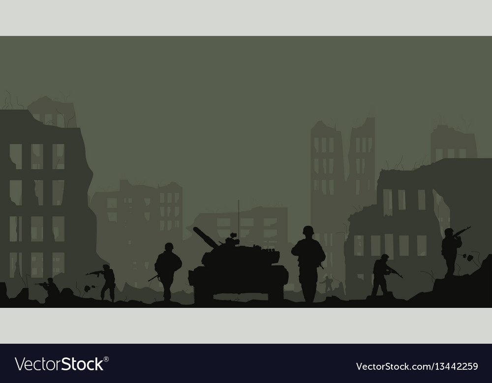 The tank the soldiers and the des vector image