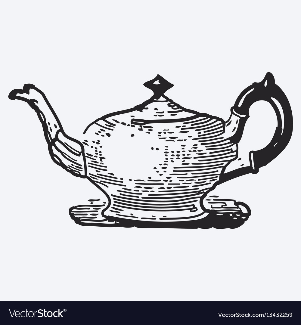 Vintage tea pot engraving ephemeral