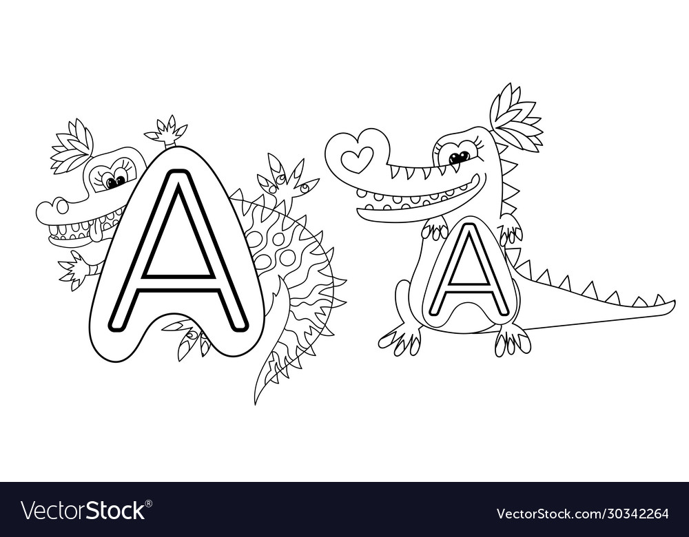 - Animal Alphabet Coloring Book For Preschool Kids Vector Image