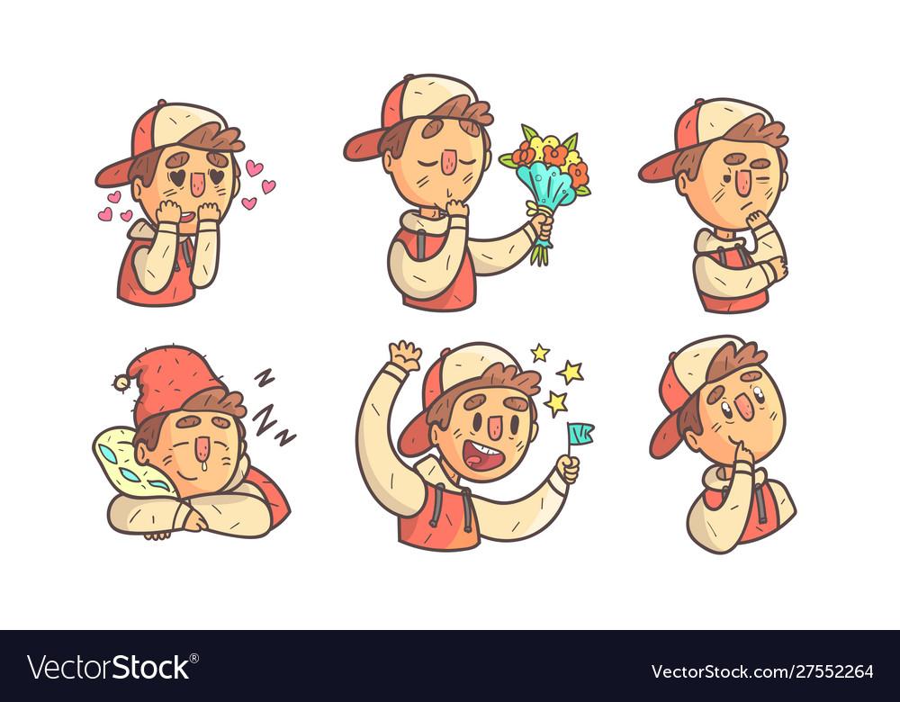 Boy wearing cap showing different emotions set