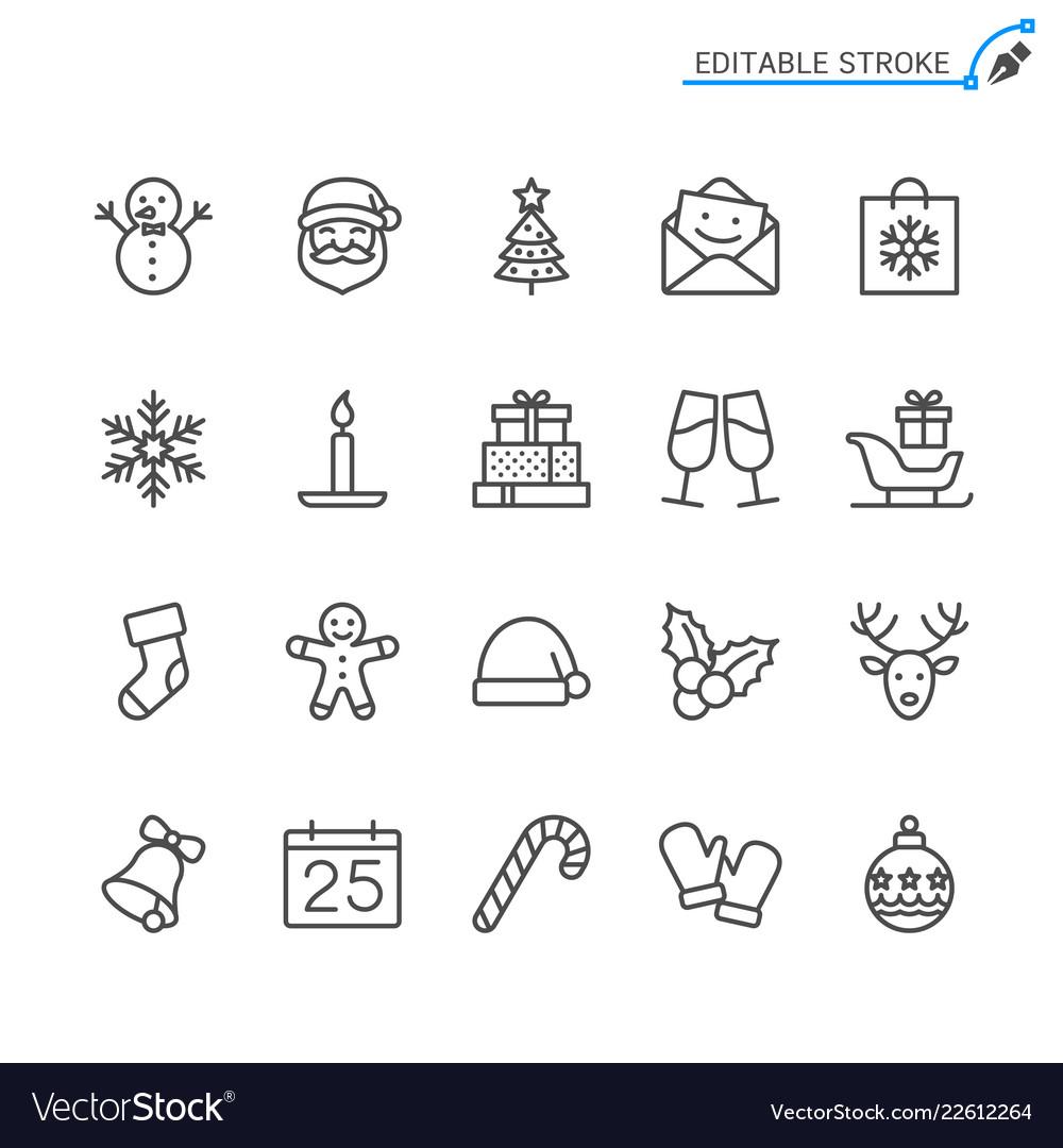 Christmas line icons editable stroke