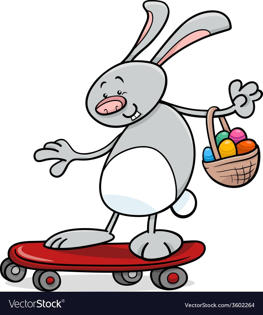 Easter bunny on skateboard cartoon