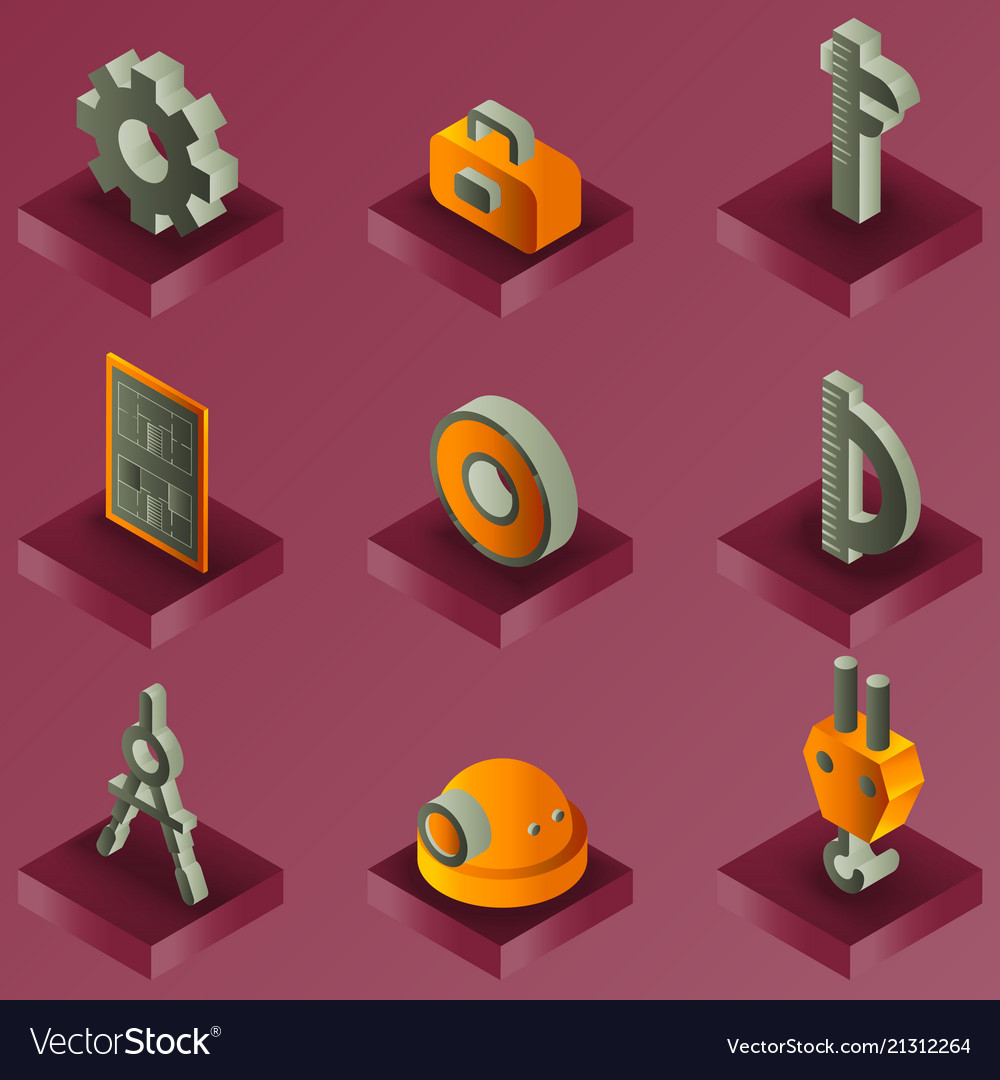 Engineering color isometric icons