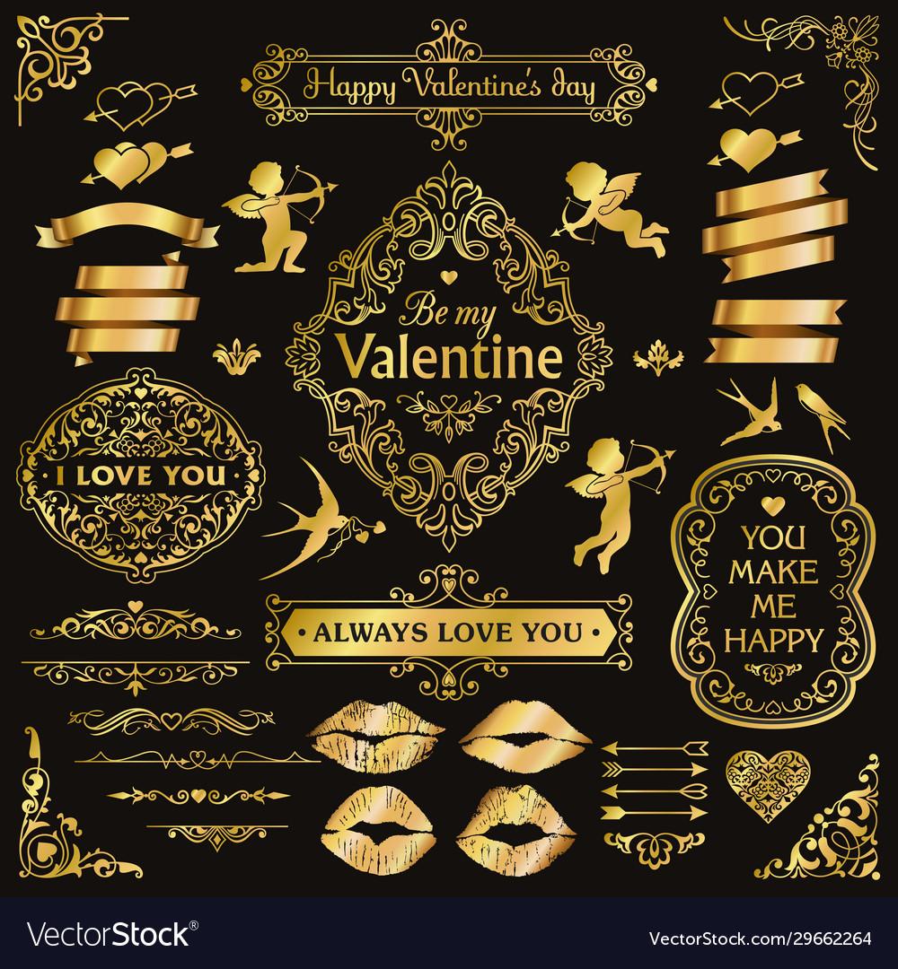 Gold love vintage decorative design elements set