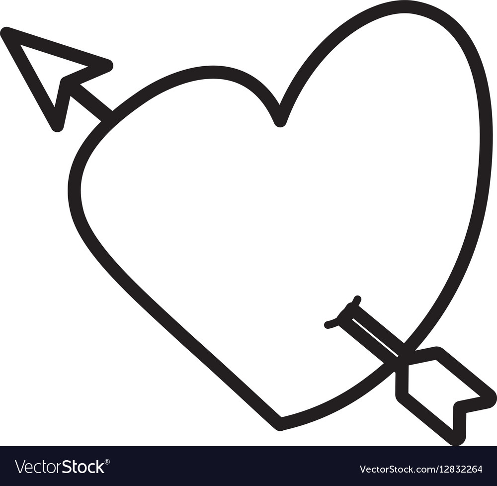 Heart love arrow cute outline vector image
