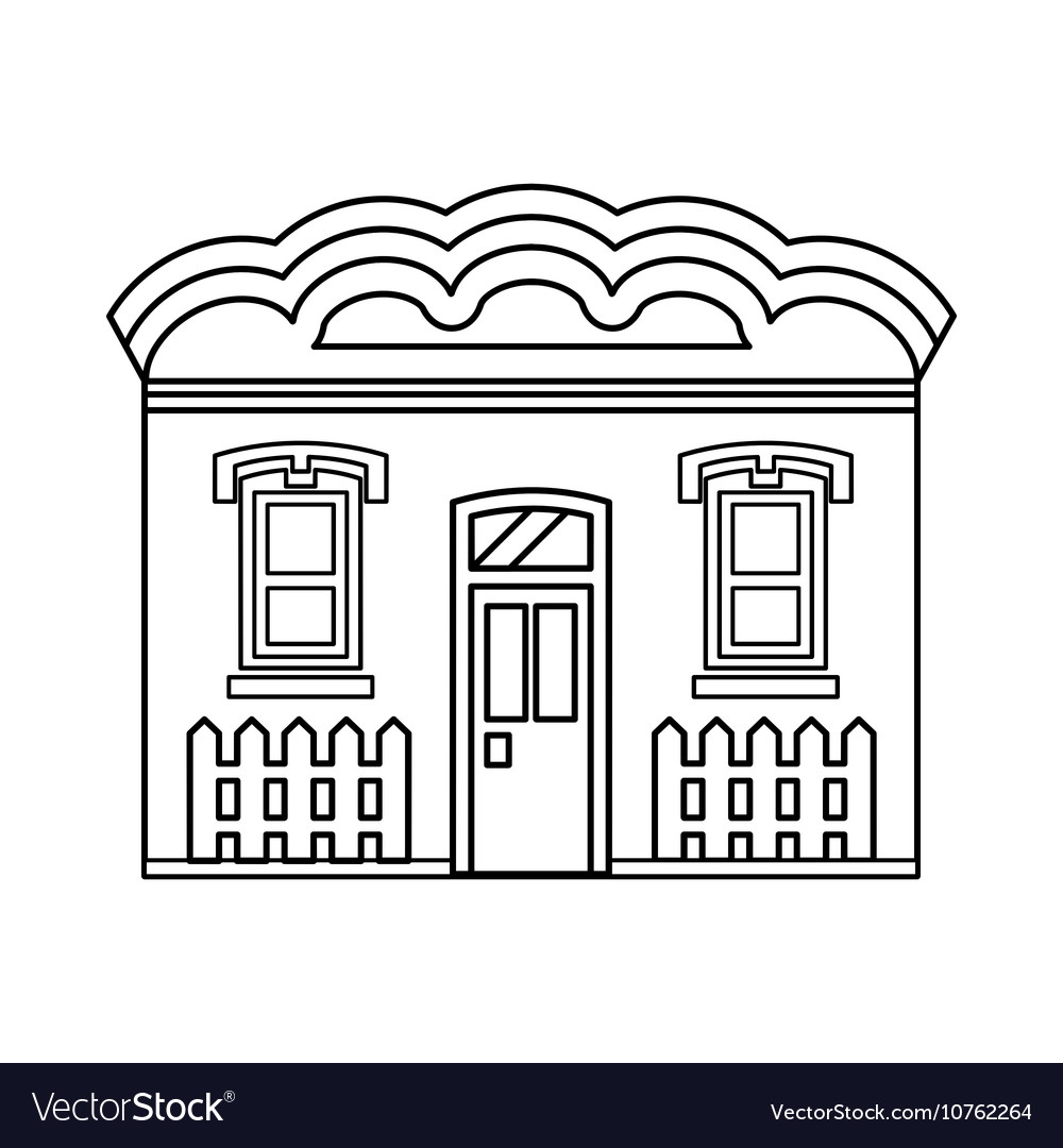 House with two windows icon outline style