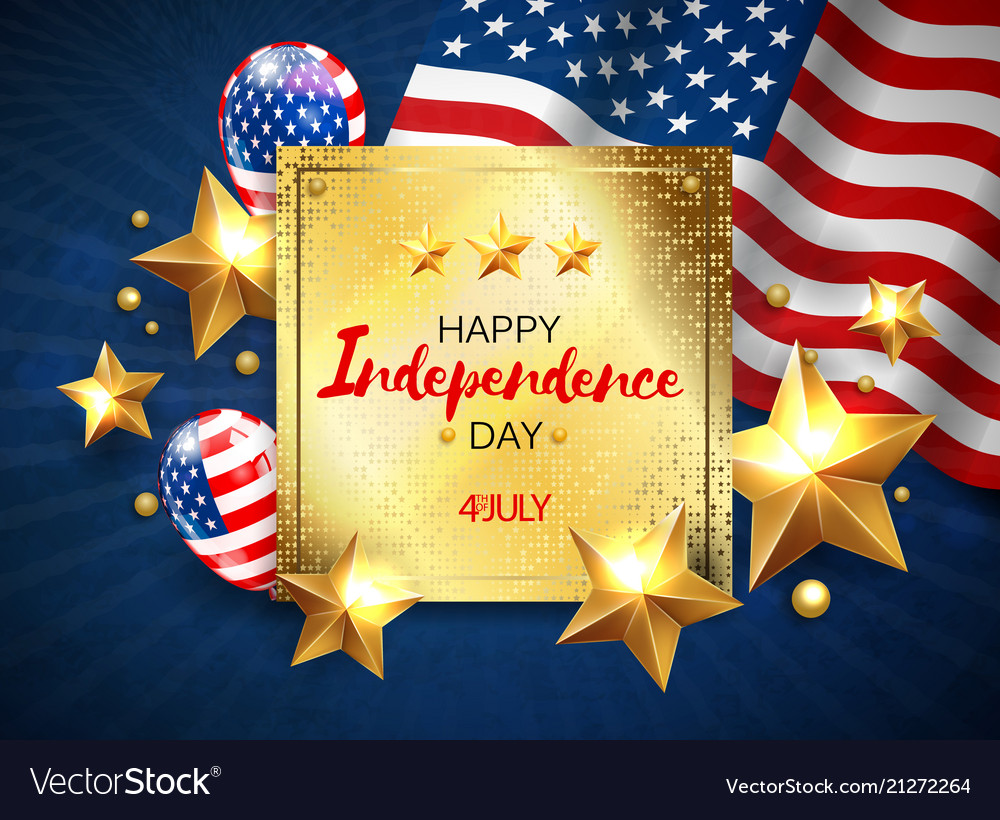 Independence day greeting banner with golden stars