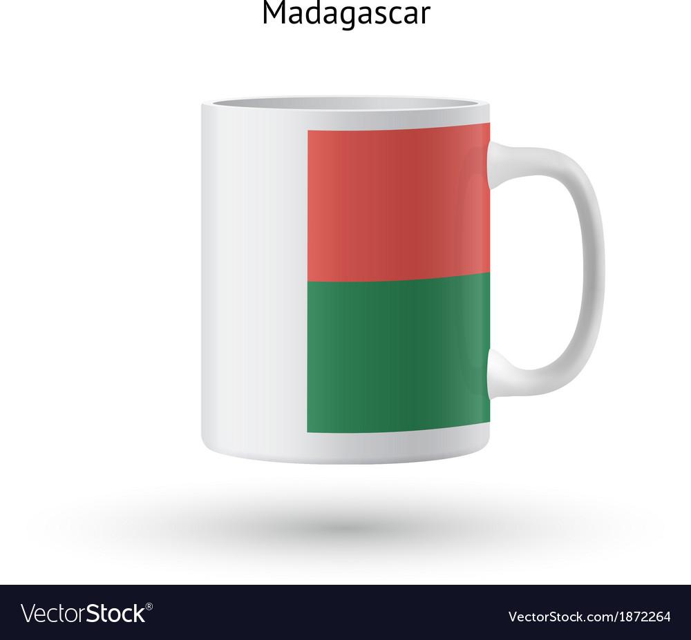 Madagascar flag souvenir mug on white background vector image