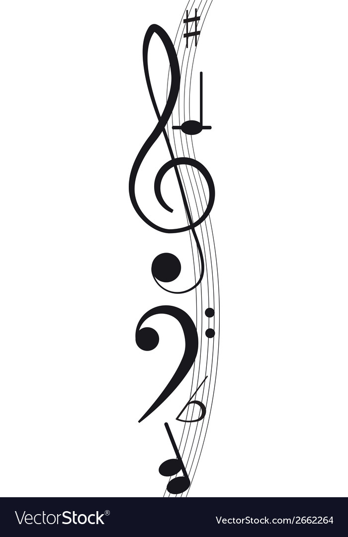 Music Treble clef and notes for your design on a