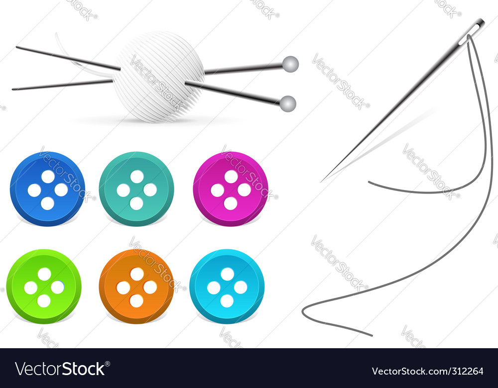 Needle and spokes on white vector