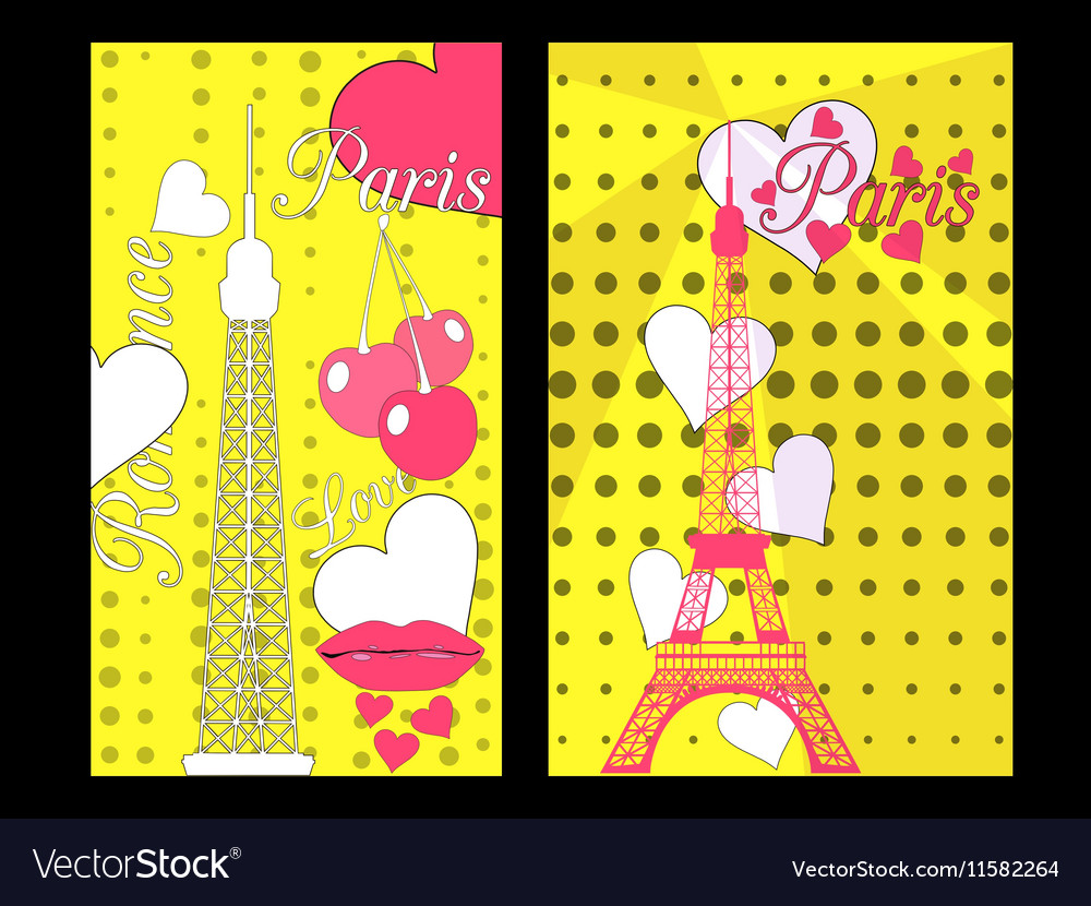 Paris poster with heart Romantic collage