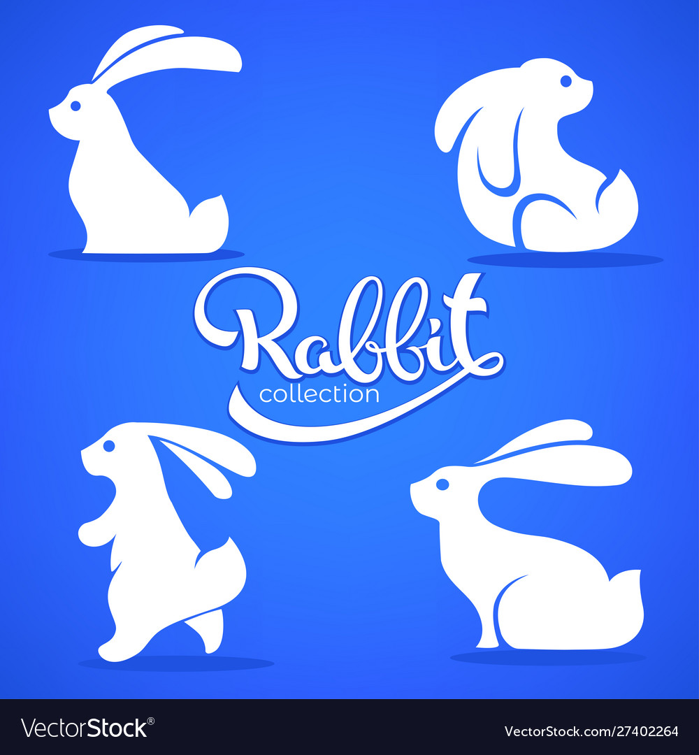 Rabbit collection silhouette small cute