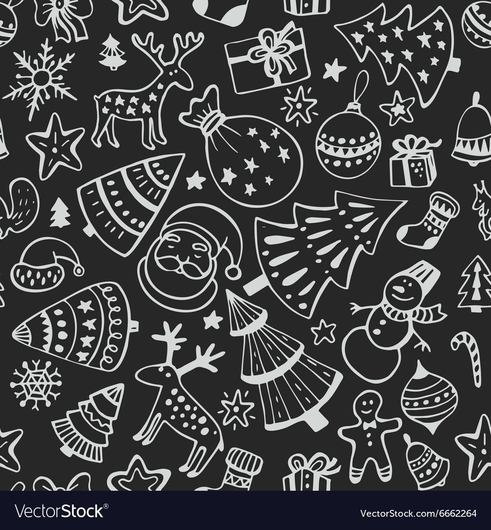Seamless pattern hand drawn sketchy christmas
