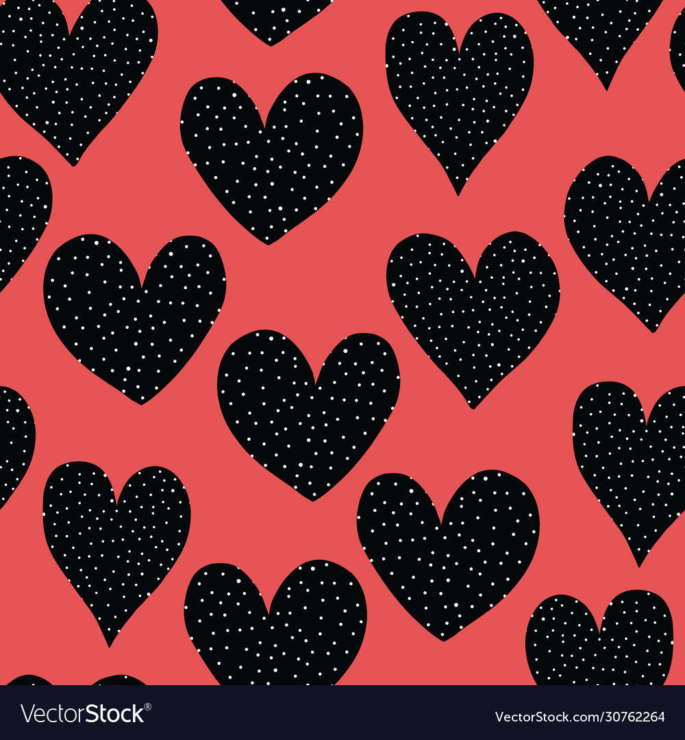 Spotted doodle hearts black and white on red