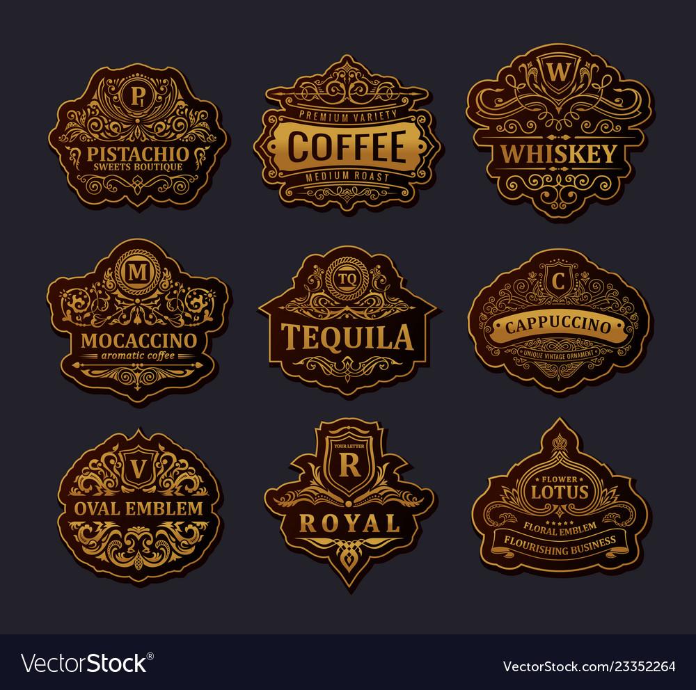 Vintage gold emblem set flourishes crest