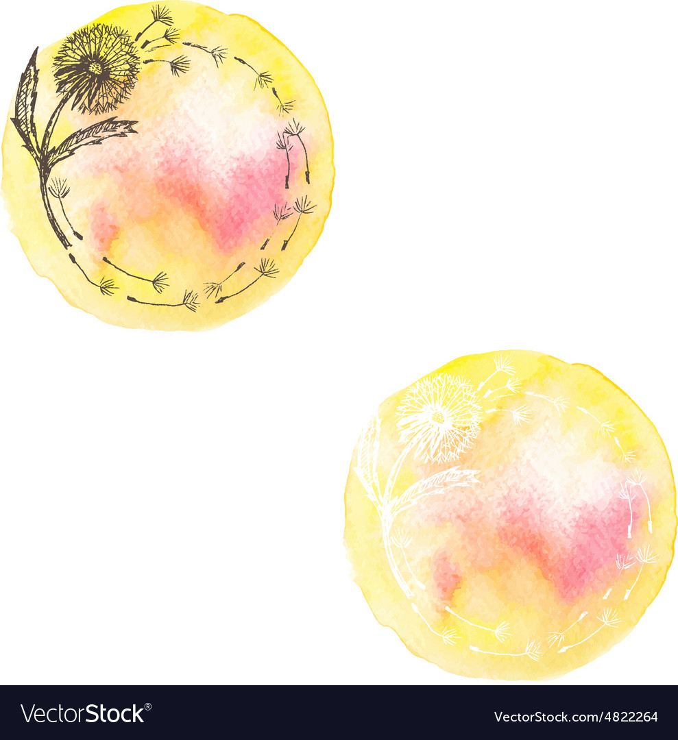 Watercolor hand drawn romantic set labels in vector image