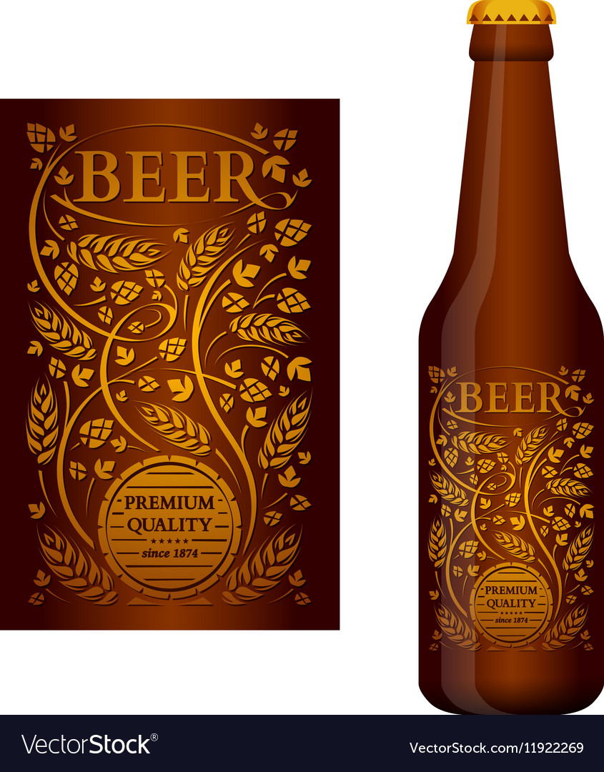 Beer label with floral ornament