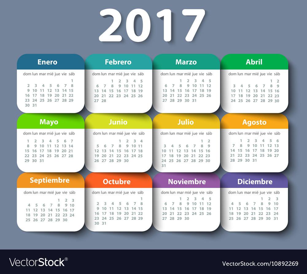 calendar 2017 year design template in royalty free vector