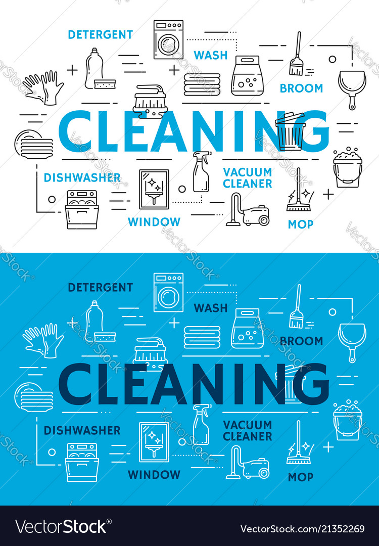 Cleaning equipment for housework line art posters