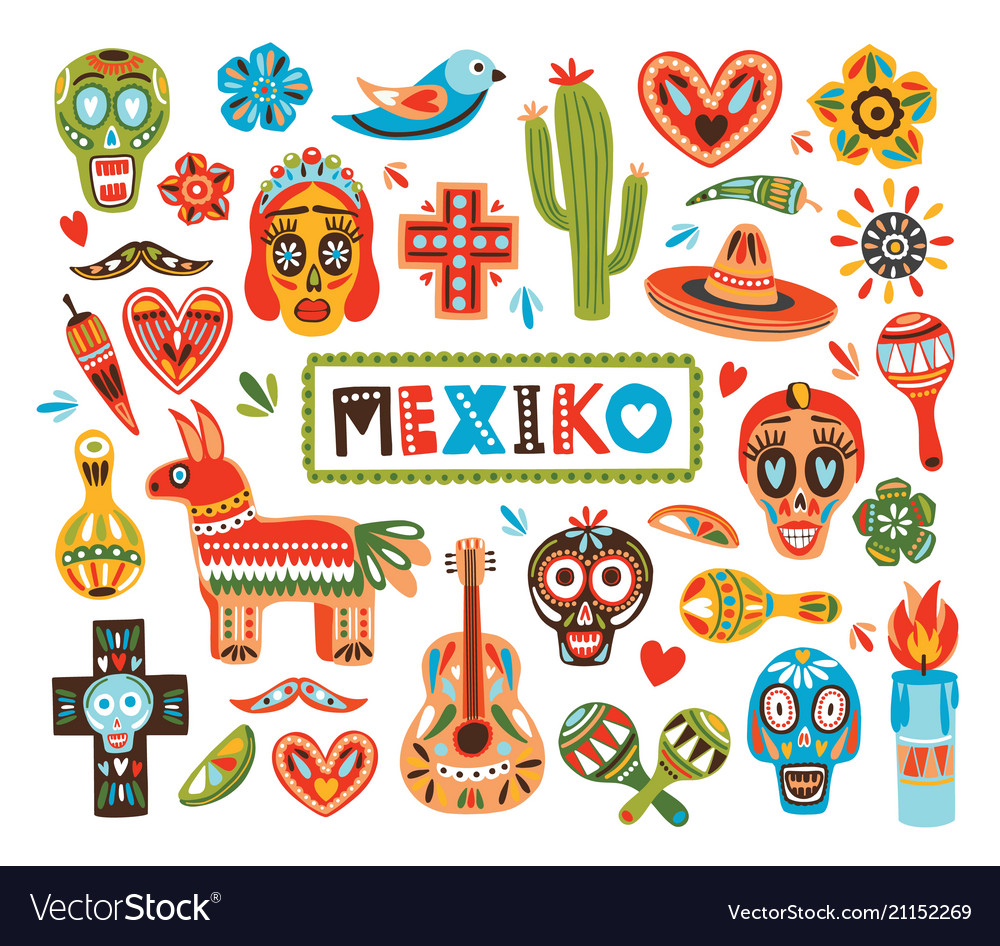 Collection of mexican national attributes isolated