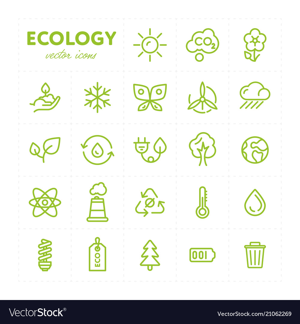 Colorful ecological icons in set