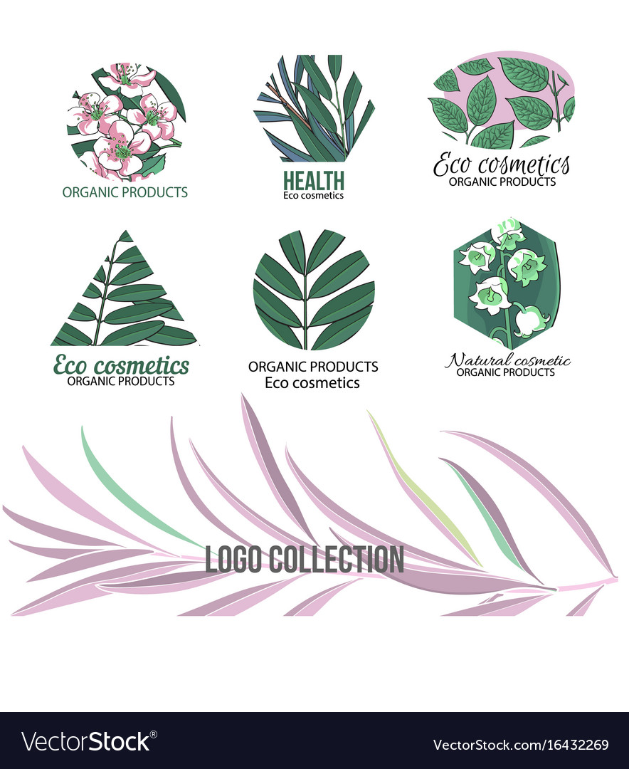 Eco cosmetics logo set with leaves and flowers