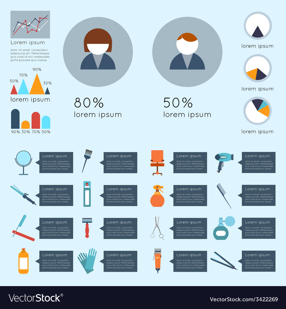 Hairdresser infographic set