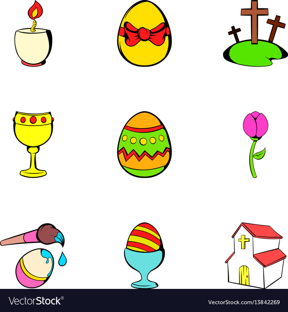 Happy easter icons set cartoon style