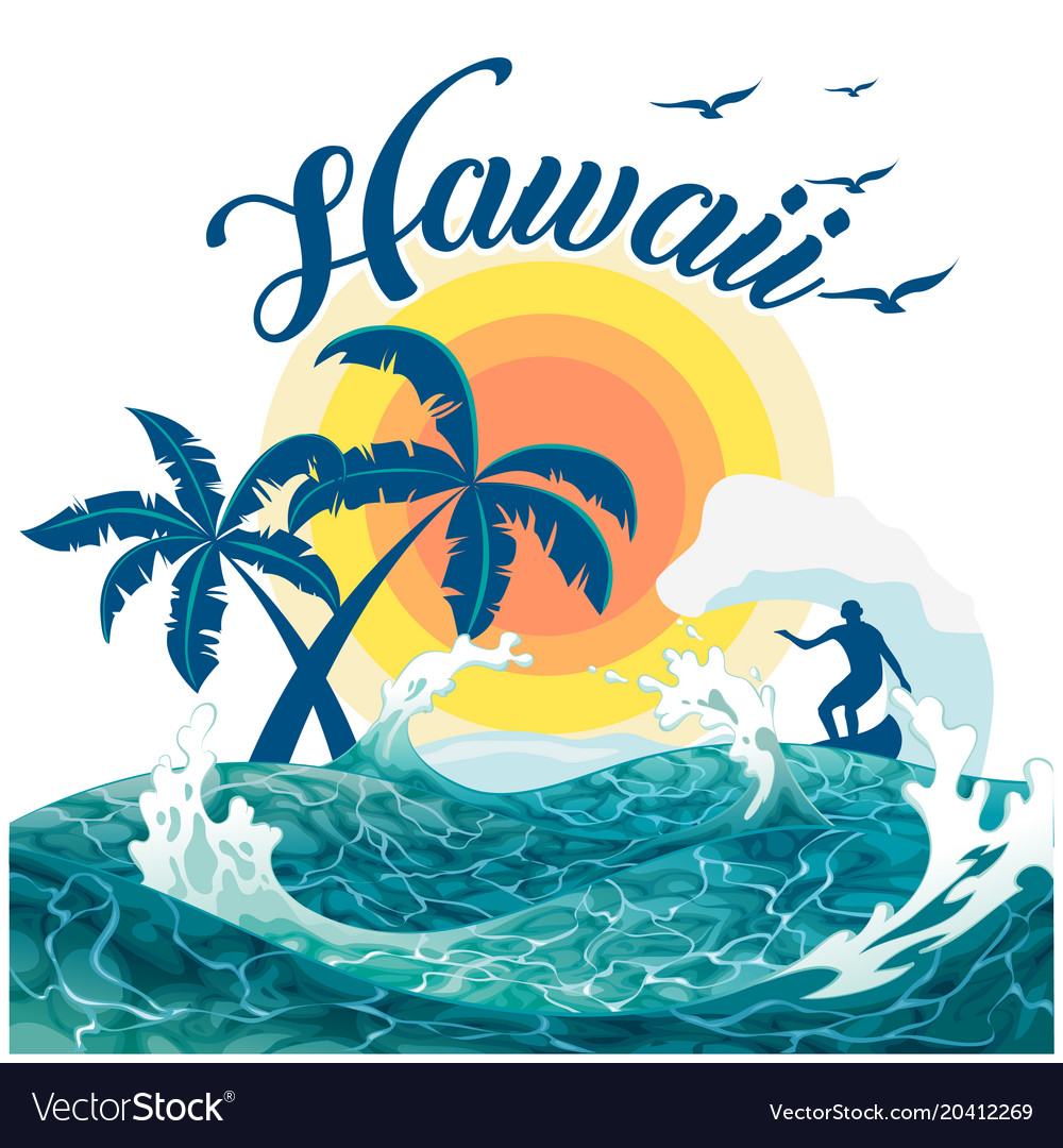 Hawaii surfing sea tree sunset background i vector image