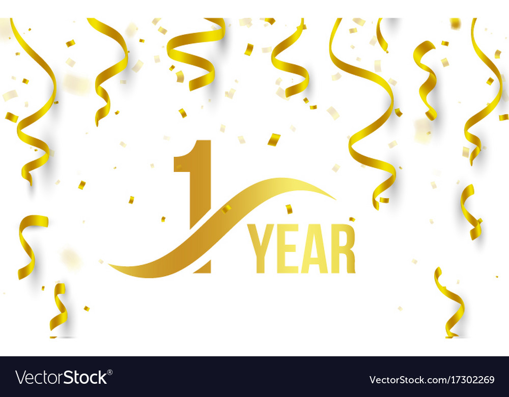 Isolated golden color number 1 with word years vector image