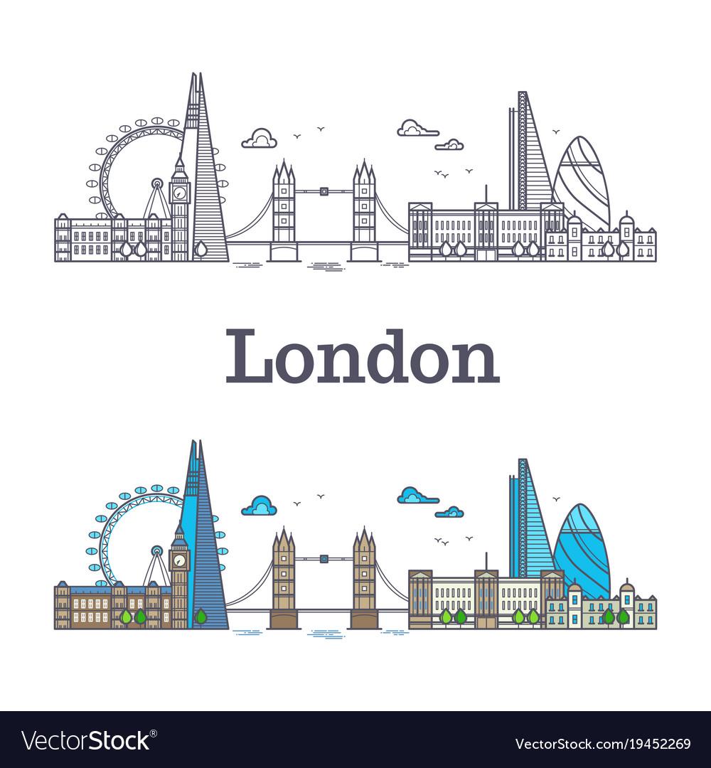 London city skyline with famous buildings tourism