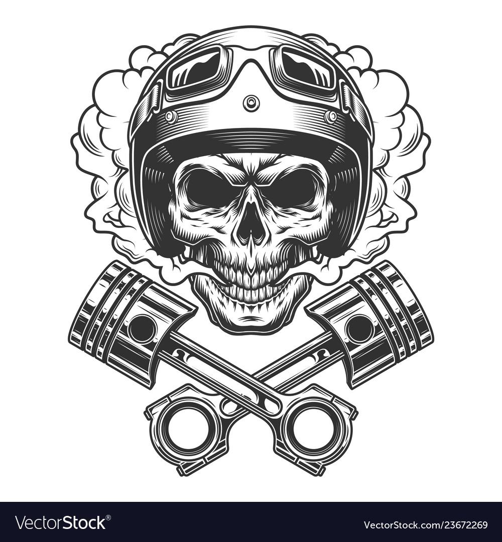 Moto racer skull in smoke cloud