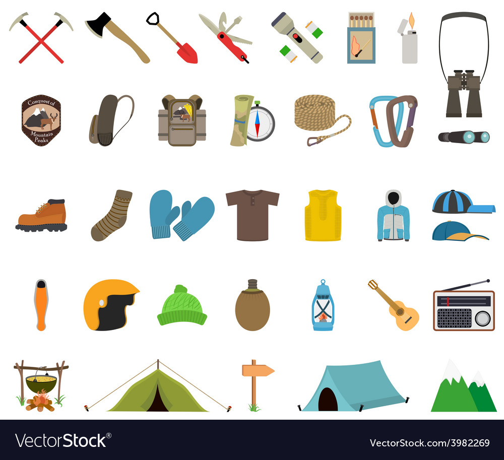 Mountain hiking and climbing icon set vector image