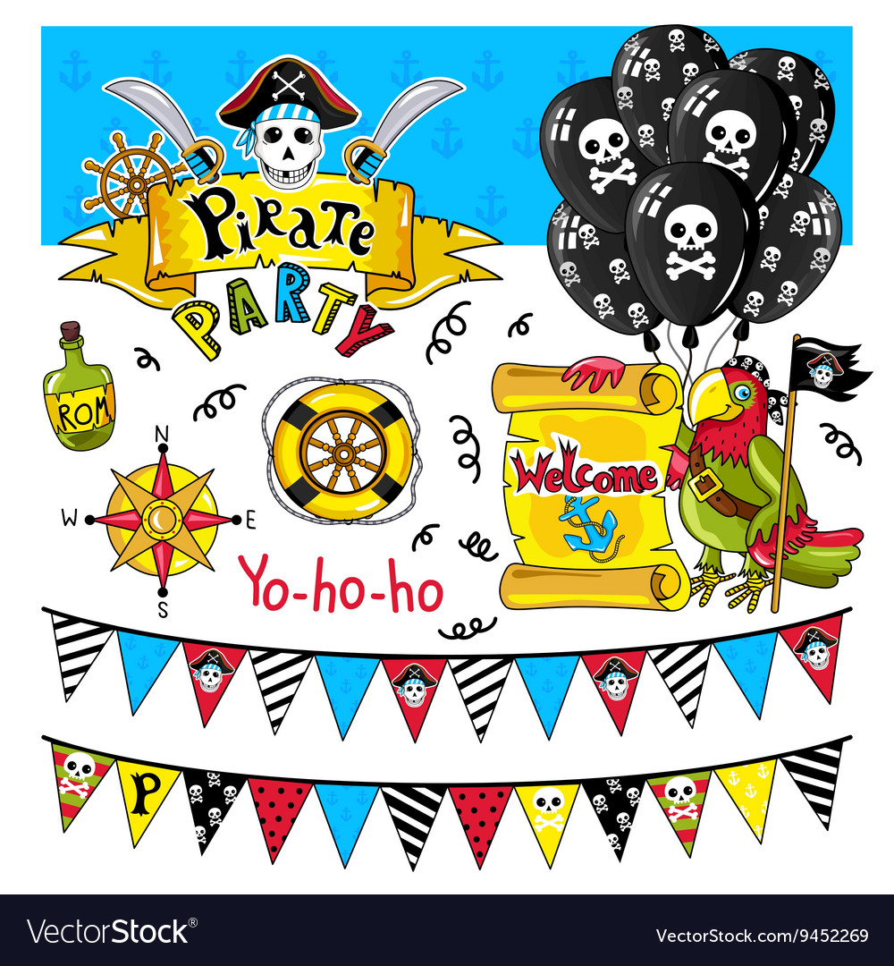 Pirate party elements on white background
