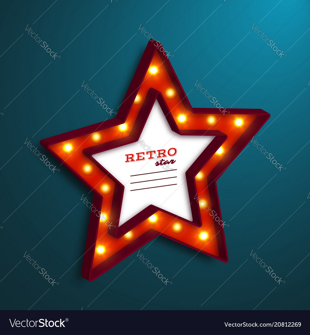Realistic 3d star with electric bulbs