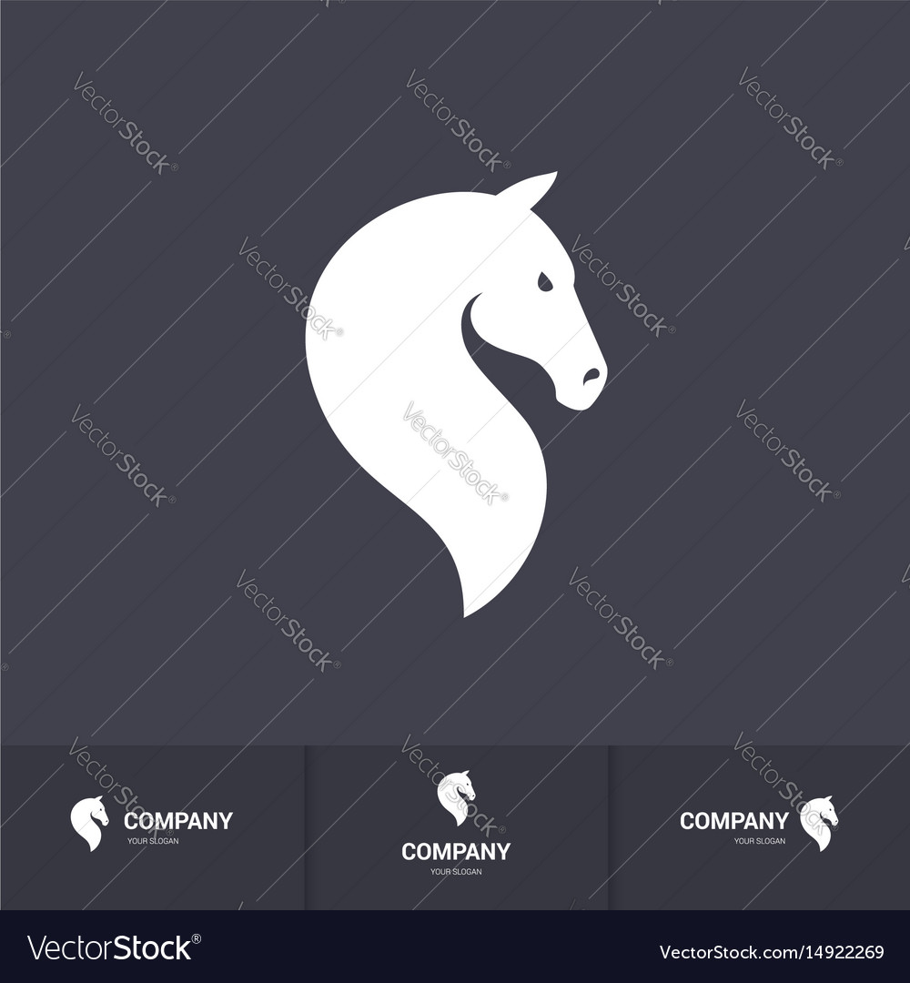 Simple white horse head for logo template on dark vector image